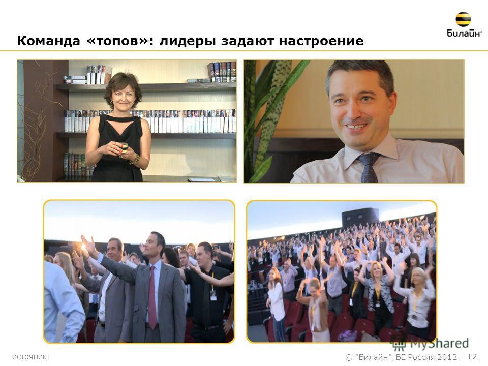 © Билайн, БЕ Россия 2012 Команда «топов»: лидеры задают настроение ИСТОЧНИК: 12