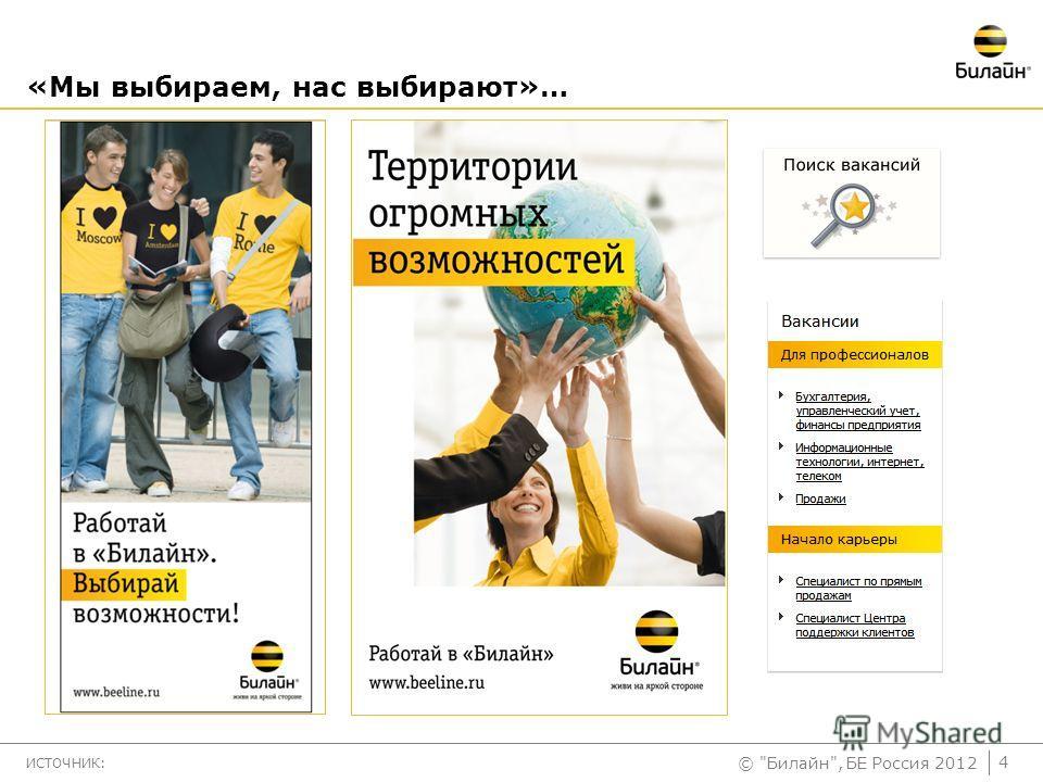 © Билайн, БЕ Россия 2012 «Мы выбираем, нас выбирают»… ИСТОЧНИК: 4
