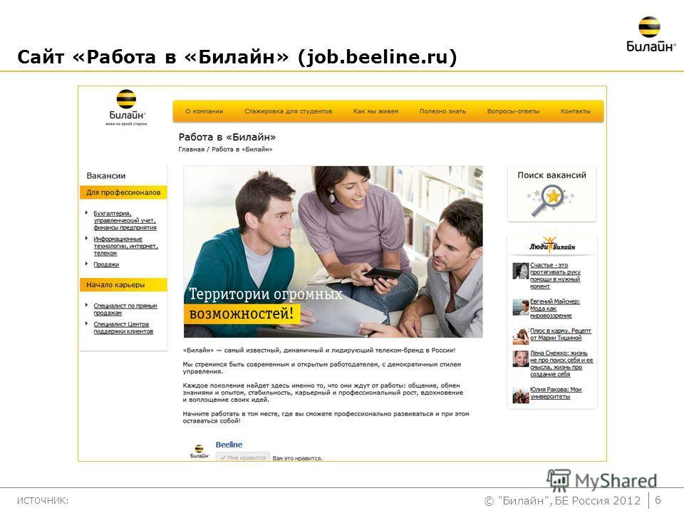 © Билайн, БЕ Россия 2012 Сайт «Работа в «Билайн» (job.beeline.ru) ИСТОЧНИК: 6