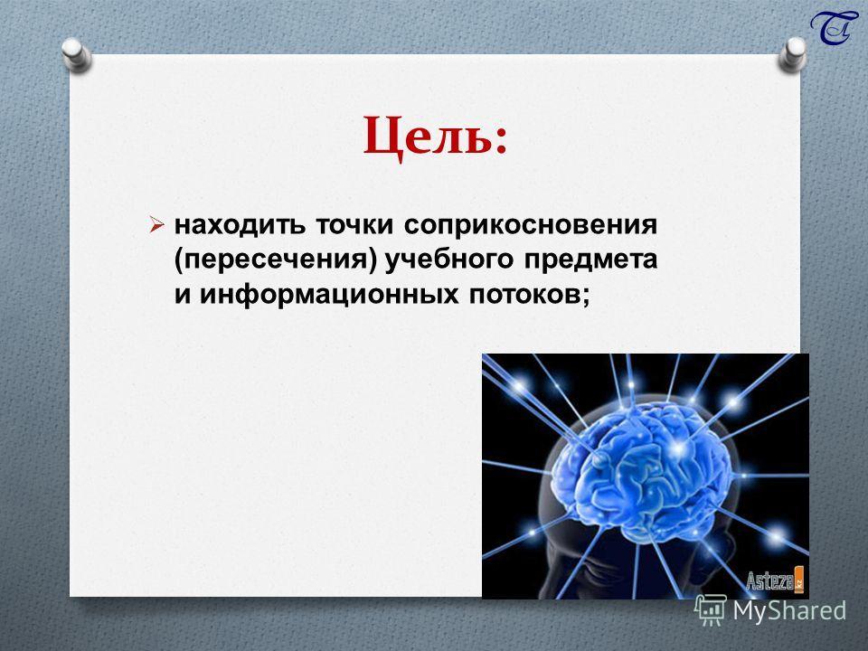 Цель: находить точки соприкосновения ( пересечения ) учебного предмета и информационных потоков ;