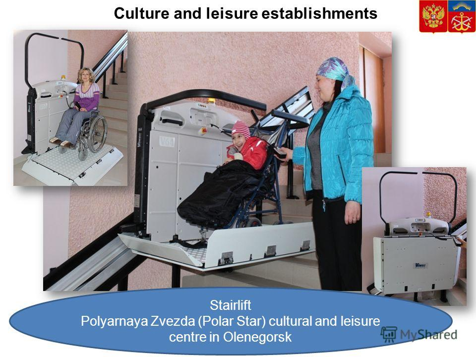 Stairlift Polyarnaya Zvezda (Polar Star) cultural and leisure centre in Olenegorsk Culture and leisure establishments