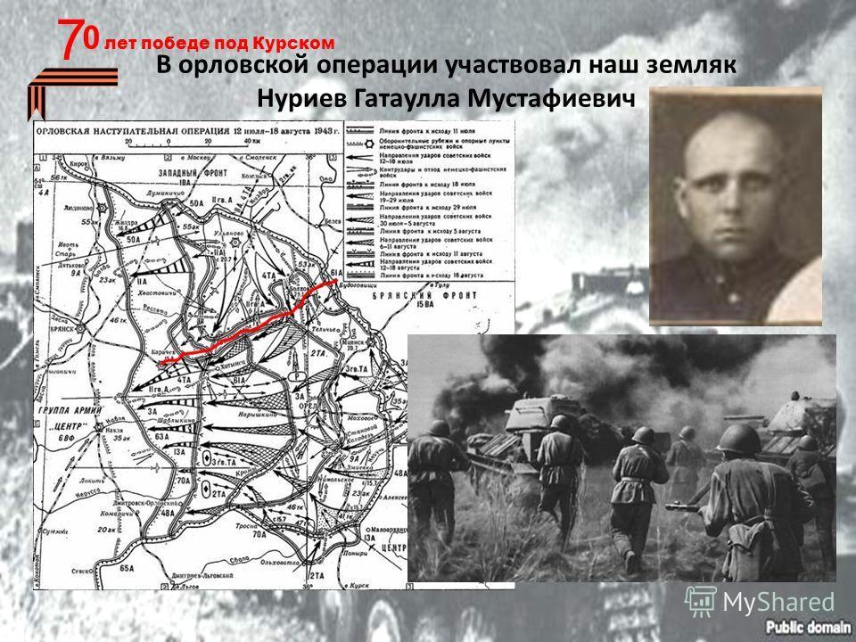 0 лет победе под Курском 7 В орловской операции участвовал наш земляк Нуриев Гатаулла Мустафиевич