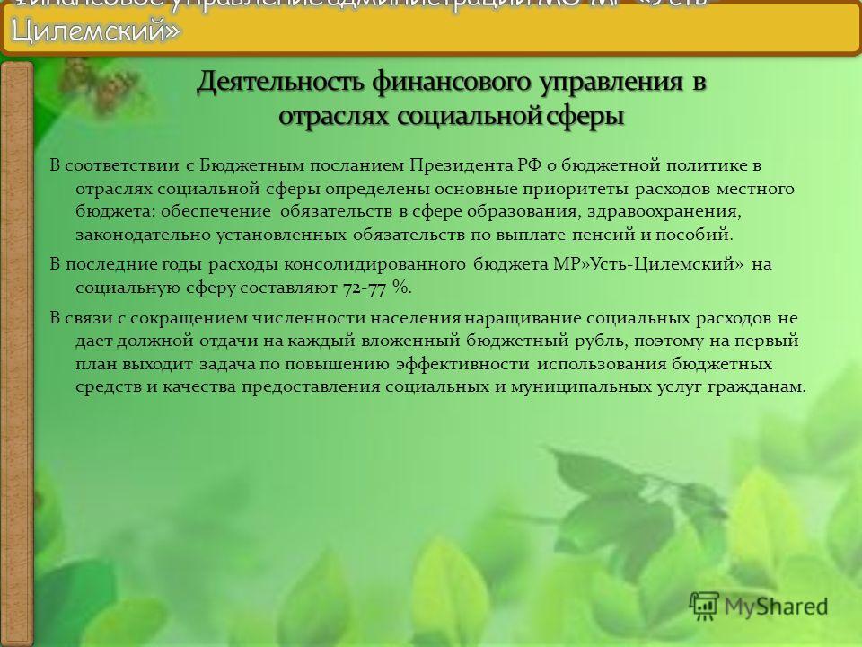 В соответствии с Бюджетным посланием Президента РФ о бюджетной политике в отраслях социальной сферы определены основные приоритеты расходов местного бюджета: обеспечение обязательств в сфере образования, здравоохранения, законодательно установленных