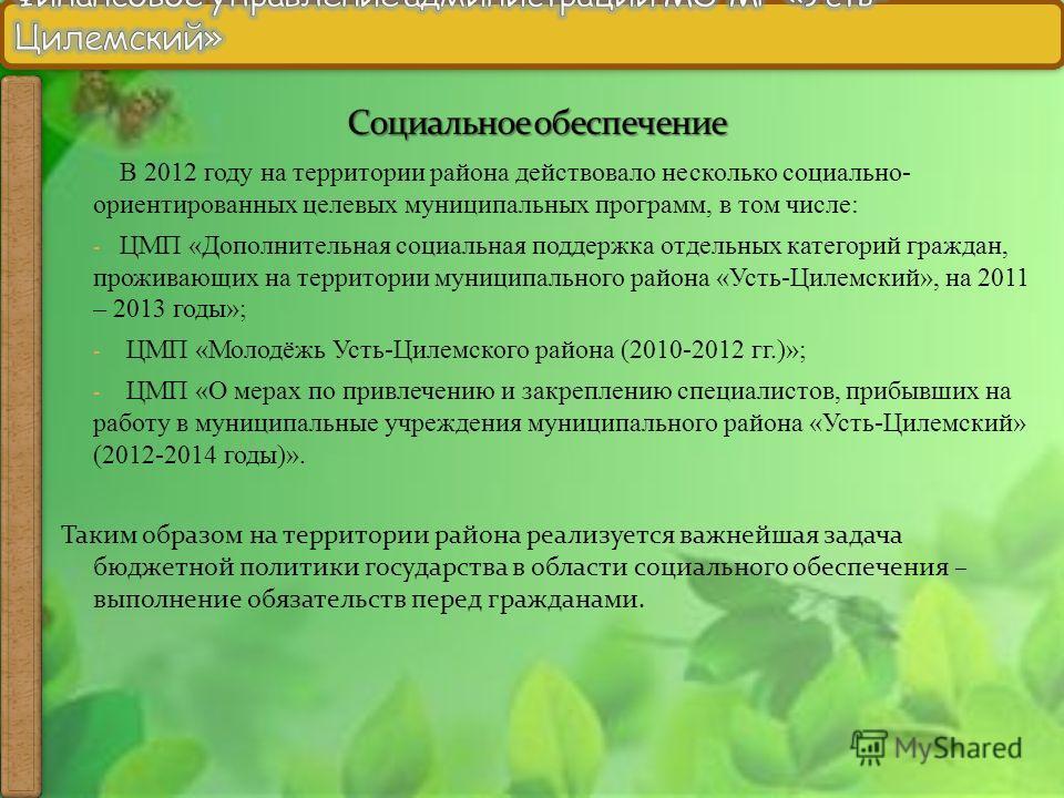 В 2012 году на территории района действовало несколько социально- ориентированных целевых муниципальных программ, в том числе: - ЦМП «Дополнительная социальная поддержка отдельных категорий граждан, проживающих на территории муниципального района «Ус