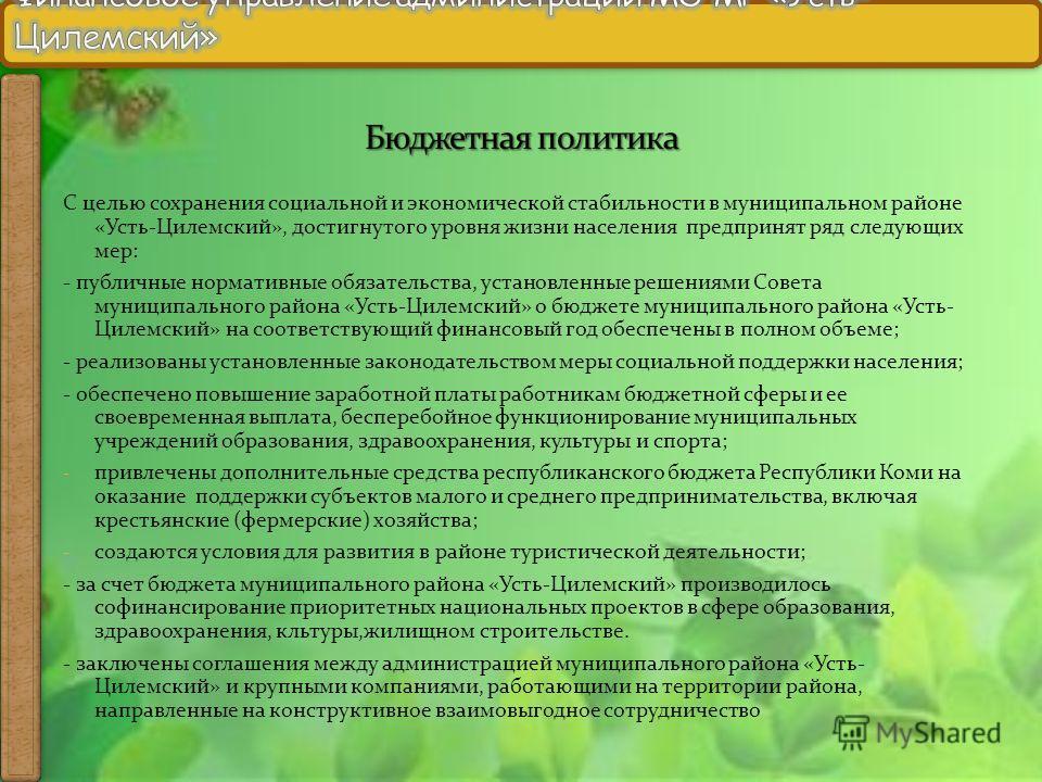 С целью сохранения социальной и экономической стабильности в муниципальном районе «Усть-Цилемский», достигнутого уровня жизни населения предпринят ряд следующих мер: - публичные нормативные обязательства, установленные решениями Совета муниципального