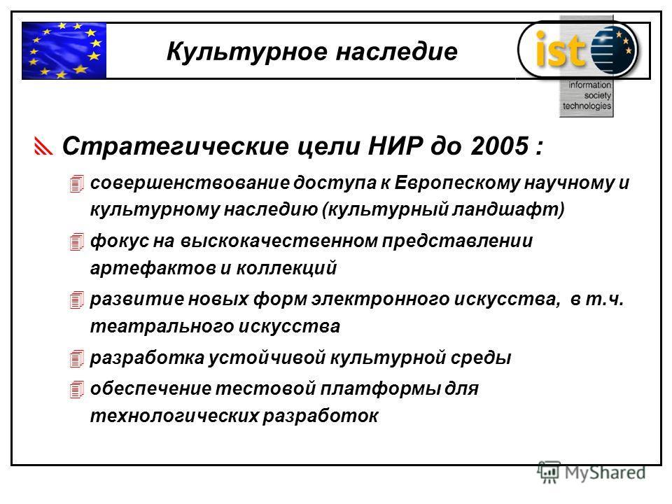 Стратегические цели НИР до 2005 : 4совершенствование доступа к Европескому научному и культурному наследию (культурный ландшафт) 4фокус на выскокачественном представлении артефактов и коллекций 4развитие новых форм электронного искусства, в т.ч. теат