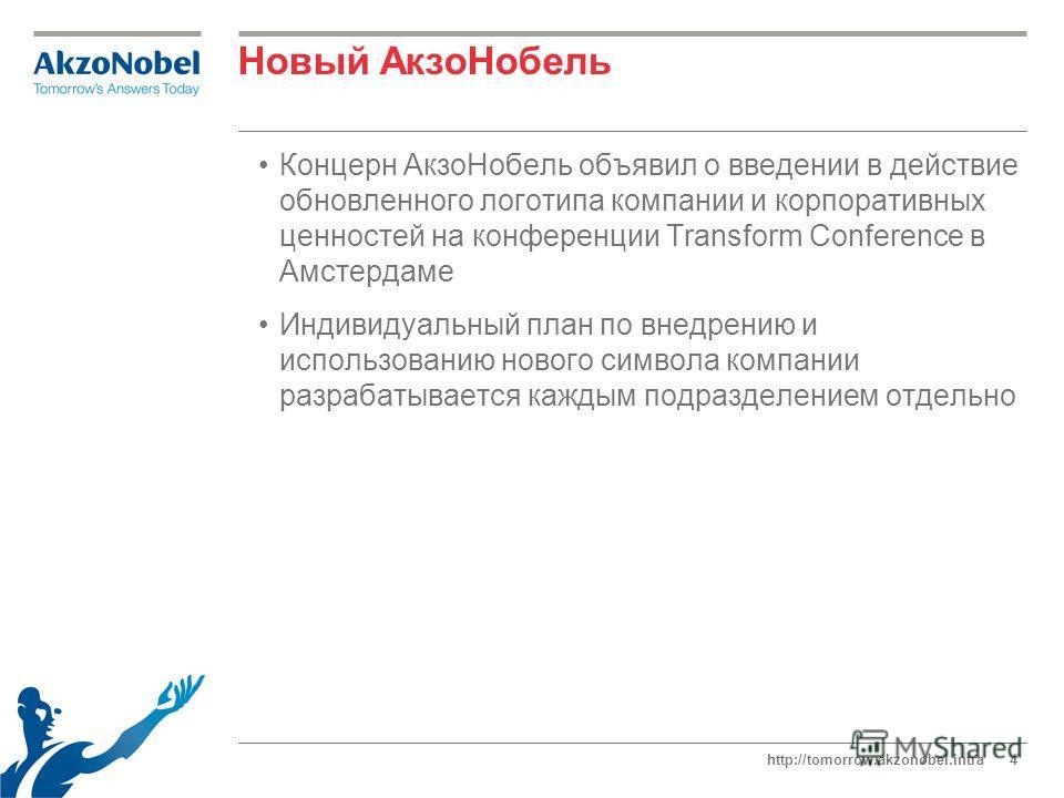 http://tomorrow.akzonobel.intra4 Новый АкзоНобель Концерн АкзоНобель объявил о введении в действие обновленного логотипа компании и корпоративных ценностей на конференции Transform Conference в Амстердаме Индивидуальный план по внедрению и использова