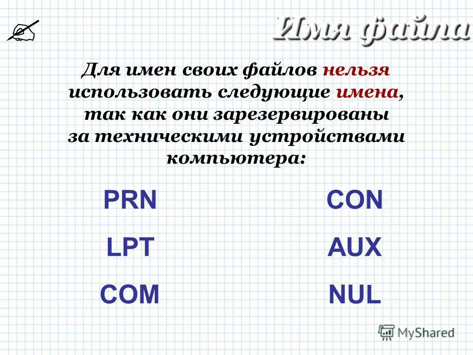 Имя файла Для имен своих файлов нельзя использовать следующие имена, так как они зарезервированы за техническими устройствами компьютера: PRN LPT COM CON AUX NUL