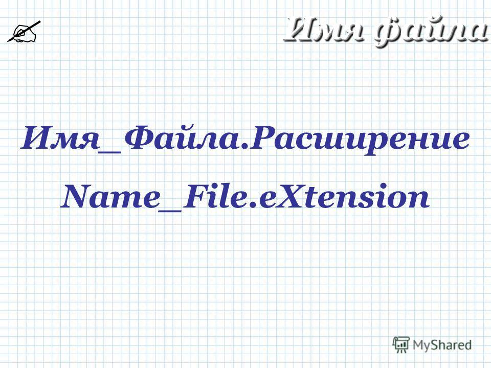 Имя_Файла.Расширение Name_File.eXtension Имя файла