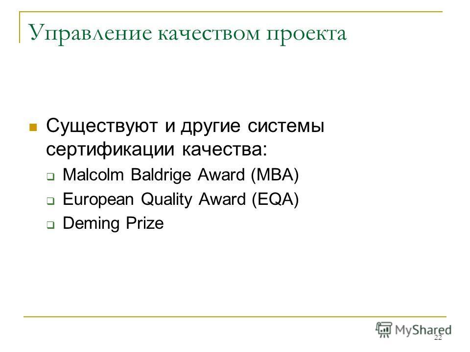 22 Управление качеством проекта Существуют и другие системы сертификации качества: Malcolm Baldrige Award (MBA) European Quality Award (EQA) Deming Prize