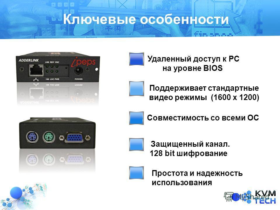 Совместимость со всеми ОС Text 2 Ключевые особенности Поддерживает стандартные видео режимы (1600 х 1200) Простота и надежность использования Удаленный доступ к PC на уровне BIOS Защищенный канал. 128 bit шифрование