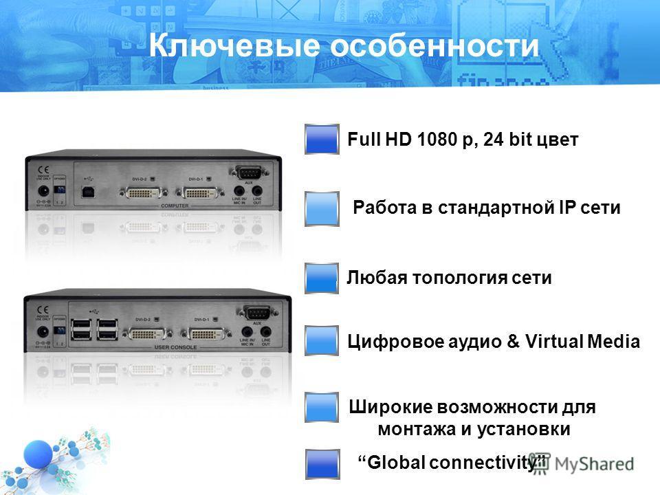 Любая топология сети Text 2 Full HD 1080 p, 24 bit цвет Ключевые особенности Работа в стандартной IP сети Цифровое аудио & Virtual Media Широкие возможности для монтажа и установки Global connectivity
