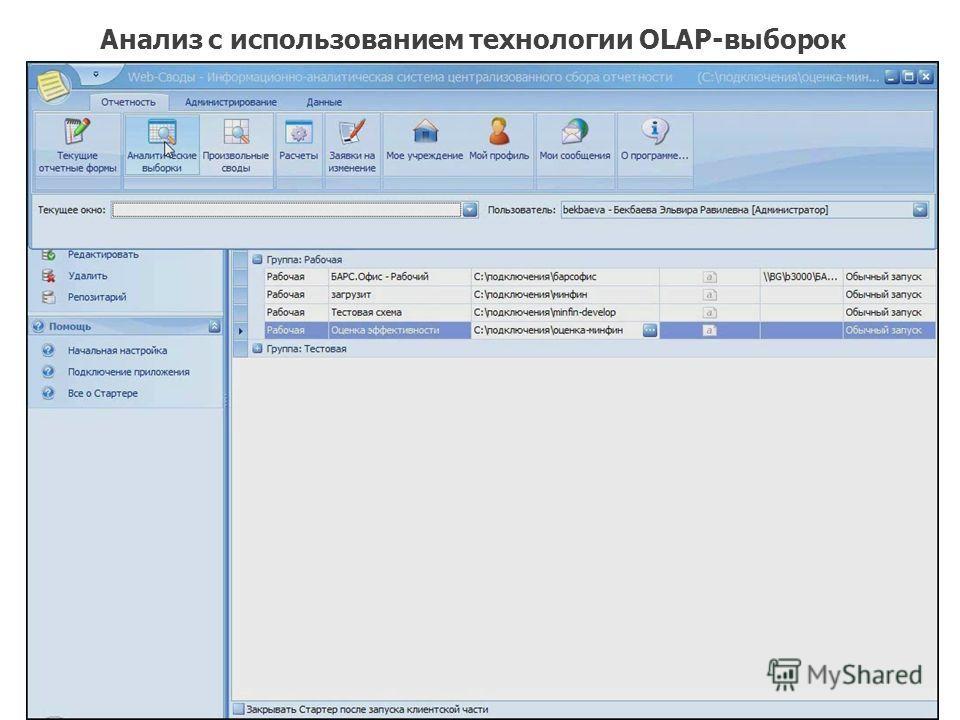 Анализ с использованием технологии OLAP-выборок