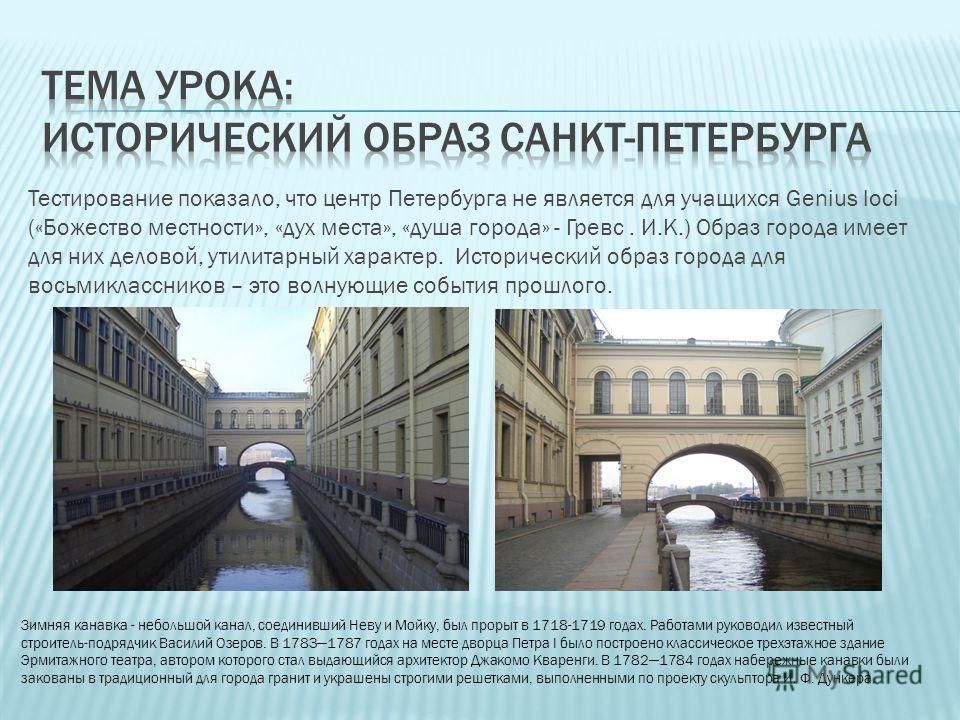 Тестирование показало, что центр Петербурга не является для учащихся Genius loci («Божество местности», «дух места», «душа города» - Гревс. И.К.) Образ города имеет для них деловой, утилитарный характер. Исторический образ города для восьмиклассников