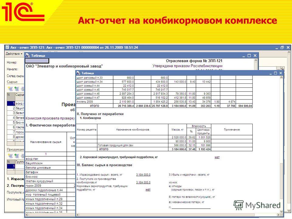 Акт-отчет на комбикормовом комплексе