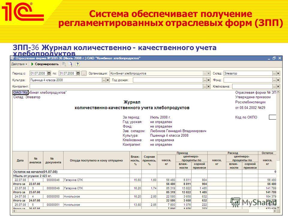 Система обеспечивает получение регламентированных отраслевых форм (ЗПП) ЗПП-36 Журнал количественно - качественного учета хлебопродуктов
