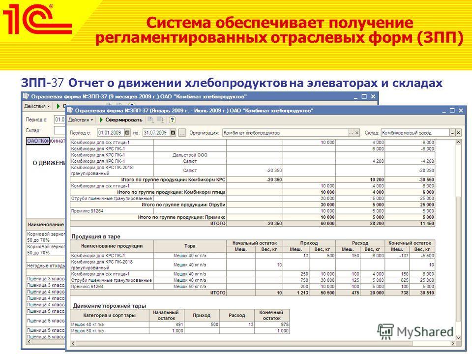 Система обеспечивает получение регламентированных отраслевых форм (ЗПП) ЗПП-37 Отчет о движении хлебопродуктов на элеваторах и складах