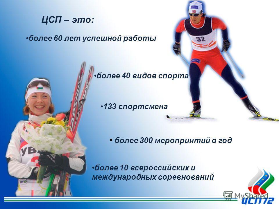 более 300 мероприятий в год более 40 видов спорта 133 спортсмена более 60 лет успешной работы более 10 всероссийских и международных соревнований ЦСП – это: