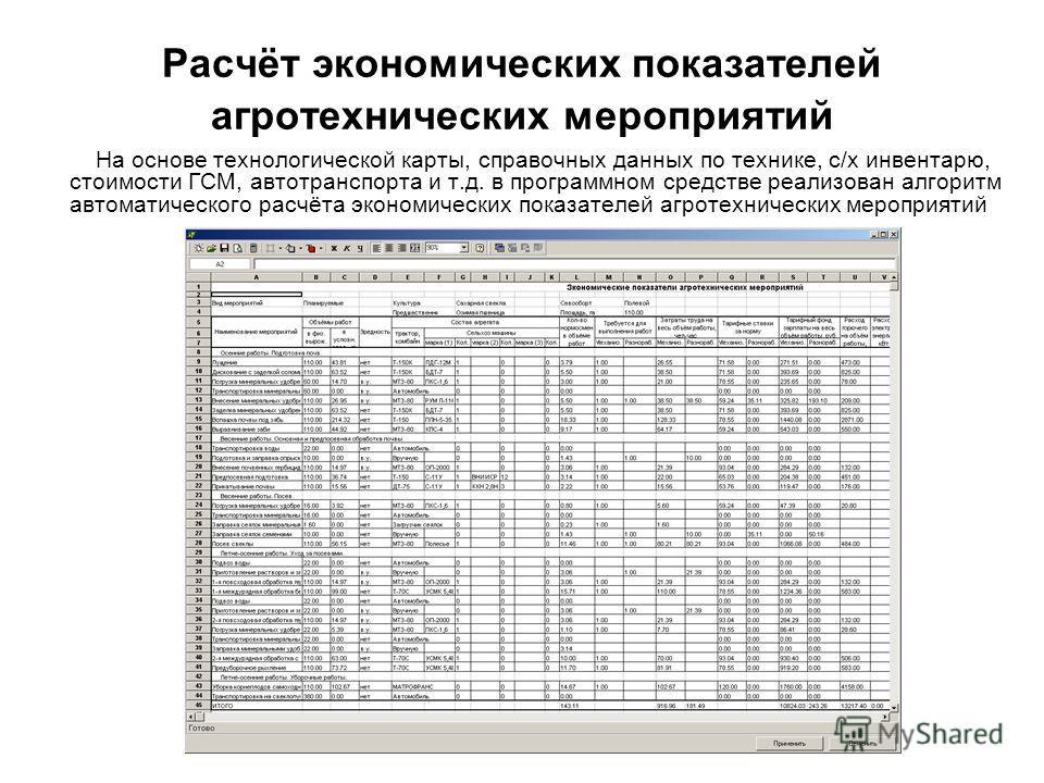 Расчёт экономических показателей агротехнических мероприятий На основе технологической карты, справочных данных по технике, с/х инвентарю, стоимости ГСМ, автотранспорта и т.д. в программном средстве реализован алгоритм автоматического расчёта экономи