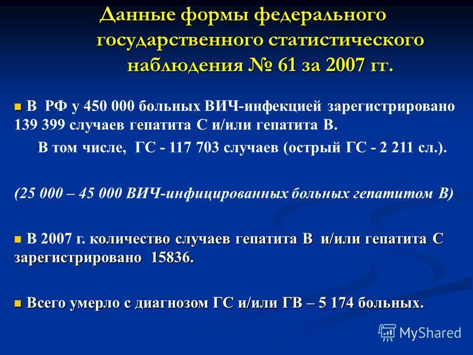 Данные формы федерального государственного статистического наблюдения 61 за 2007 гг. В РФ у 450 000 больных ВИЧ-инфекцией зарегистрировано 139 399 случаев гепатита С и/или гепатита В. В том числе, ГС - 117 703 случаев (острый ГС - 2 211 сл.). (25 000