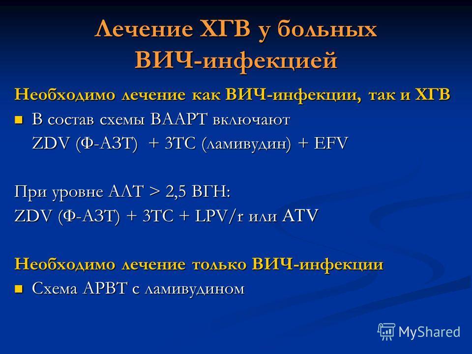 Лечение ХГВ у больных ВИЧ-инфекцией Необходимо лечение как ВИЧ-инфекции, так и ХГВ В состав схемы ВААРТ включают В состав схемы ВААРТ включают ZDV (Ф-АЗТ) + 3TC (ламивудин) + EFV При уровне АЛТ > 2,5 ВГН: ZDV (Ф-АЗТ) + 3TC + LPV/r или АТV Необходимо