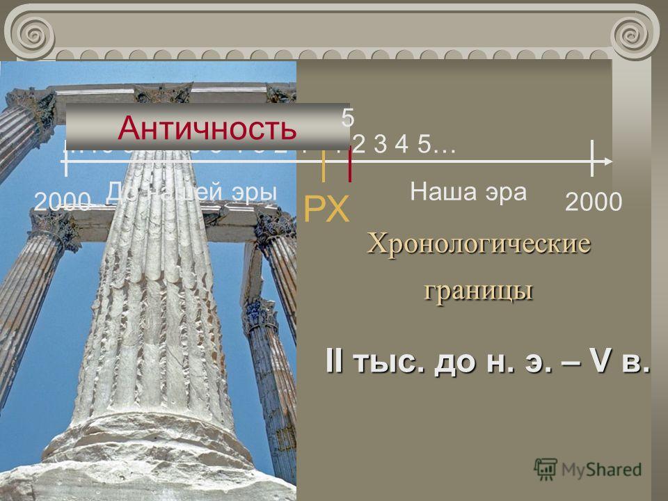 Хронологические границы II тыс. до н. э. – V в. РХ До нашей эрыНаша эра 1 2 3 4 5……10 9 8 7 6 5 4 3 2 1 2000 Античность 5