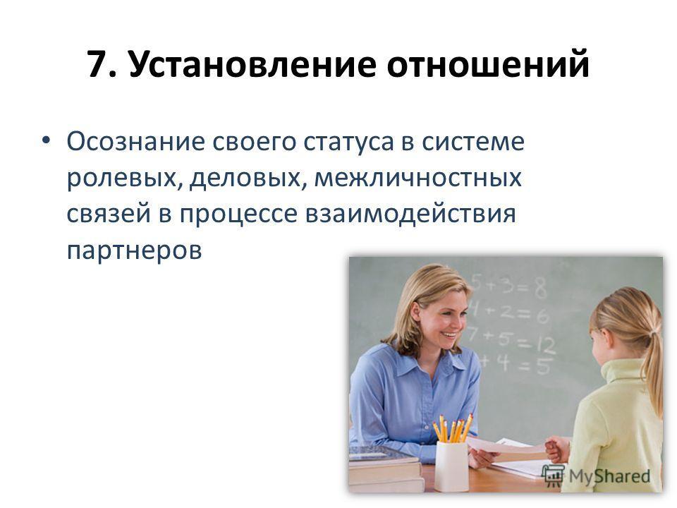 7. Установление отношений Осознание своего статуса в системе ролевых, деловых, межличностных связей в процессе взаимодействия партнеров
