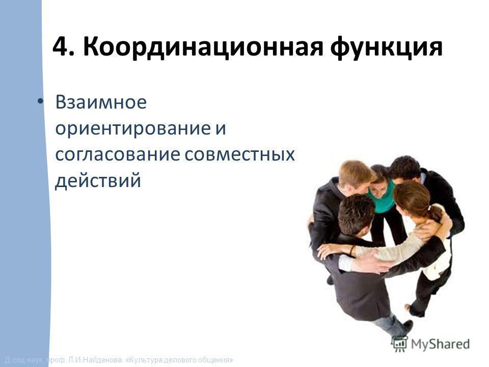 Д.соц.наук, проф. Л.И.Найденова. «Культура делового общения» 4. Координационная функция Взаимное ориентирование и согласование совместных действий
