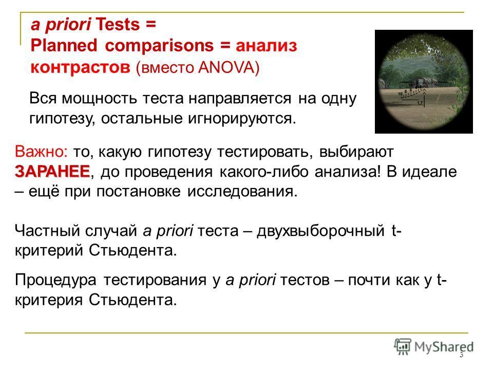 3 a priori Tests = Planned comparisons = анализ контрастов (вместо ANOVA) Вся мощность теста направляется на одну гипотезу, остальные игнорируются. ЗАРАНЕЕ Важно: то, какую гипотезу тестировать, выбирают ЗАРАНЕЕ, до проведения какого-либо анализа! В