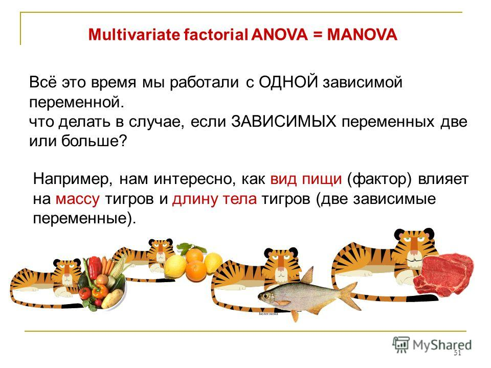 51 Multivariate factorial ANOVA = MANOVA Всё это время мы работали с ОДНОЙ зависимой переменной. что делать в случае, если ЗАВИСИМЫХ переменных две или больше? Например, нам интересно, как вид пищи (фактор) влияет на массу тигров и длину тела тигров