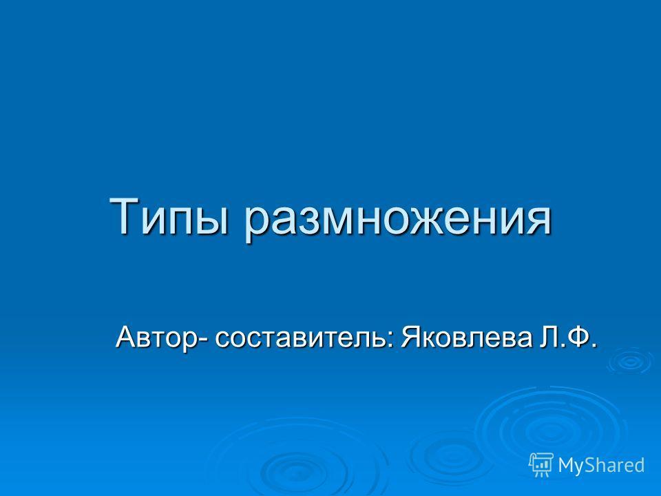 Типы размножения Автор- составитель: Яковлева Л.Ф.