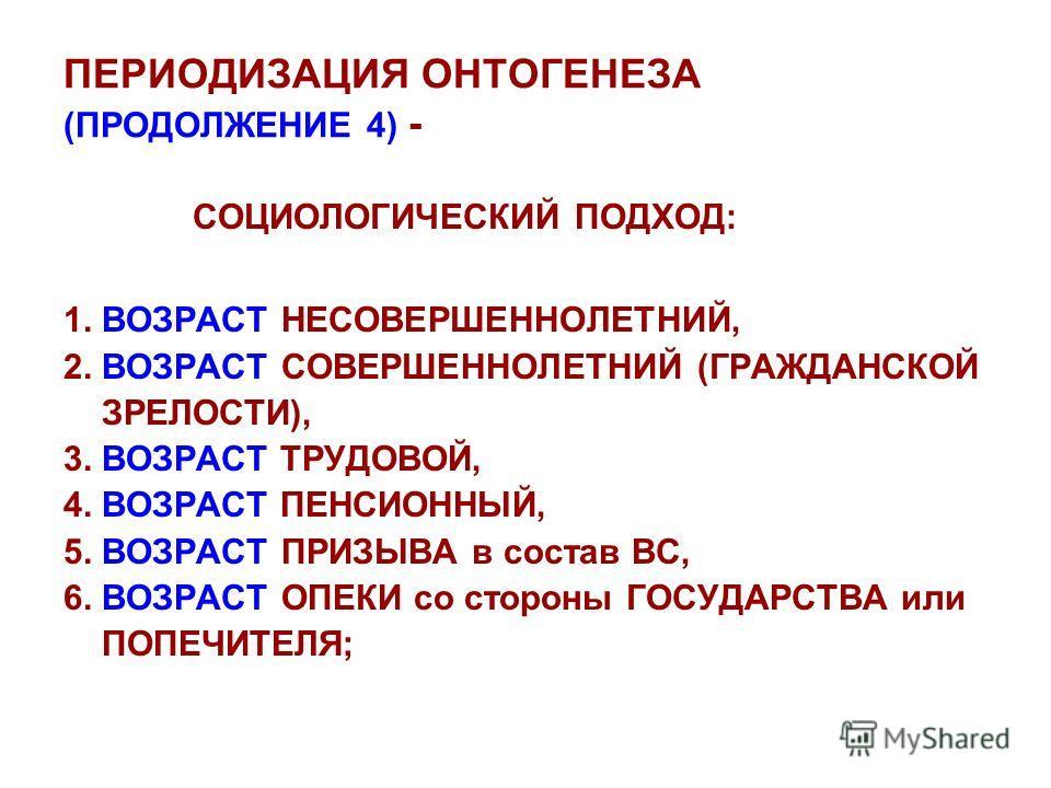 ПЕРИОДИЗАЦИЯ ОНТОГЕНЕЗА (ПРОДОЛЖЕНИЕ 4) - СОЦИОЛОГИЧЕСКИЙ ПОДХОД: 1. ВОЗРАСТ НЕСОВЕРШЕННОЛЕТНИЙ, 2. ВОЗРАСТ СОВЕРШЕННОЛЕТНИЙ (ГРАЖДАНСКОЙ ЗРЕЛОСТИ), 3. ВОЗРАСТ ТРУДОВОЙ, 4. ВОЗРАСТ ПЕНСИОННЫЙ, 5. ВОЗРАСТ ПРИЗЫВА в состав ВС, 6. ВОЗРАСТ ОПЕКИ со сторо