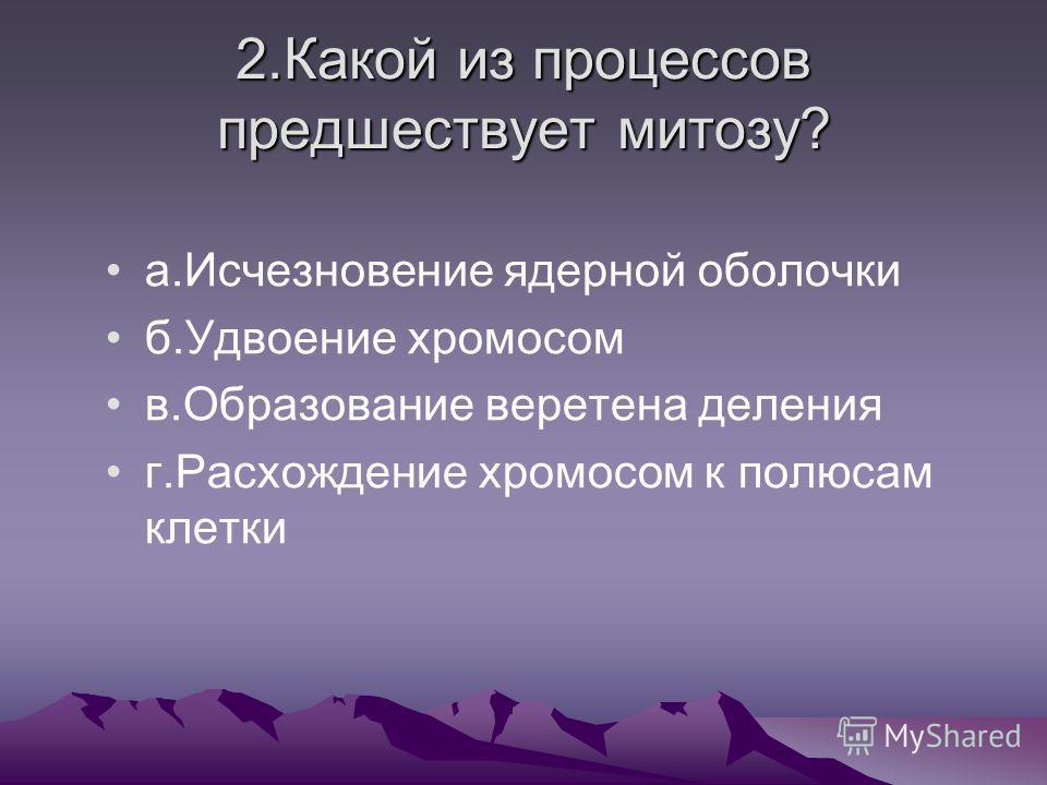 2.Какой из процессов предшествует митозу? а.Исчезновение ядерной оболочки б.Удвоение хромосом в.Образование веретена деления г.Расхождение хромосом к полюсам клетки