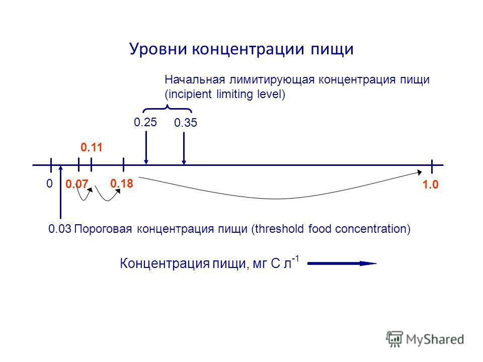Уровни концентрации пищи 0 1.0 0.07 0.11 0.18 0.25 Концентрация пищи, мг C л -1 0.03 0.35 Пороговая концентрация пищи (threshold food concentration) Начальная лимитирующая концентрация пищи (incipient limiting level)