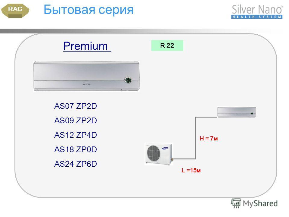 Бытовая серия AS07 ZP2D AS09 ZP2D AS12 ZP4D AS18 ZP0D AS24 ZP6D RAC R 22 Н = 7м L =15м Premium