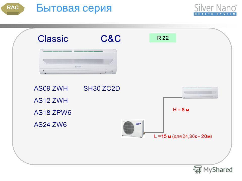 Бытовая серия AS09 ZWH AS12 ZWH AS18 ZPW6 AS24 ZW6 RAC R 22 Н = 8 м ClassicC&C SH30 ZC2D L =15 м (для 24,30к – 20м)