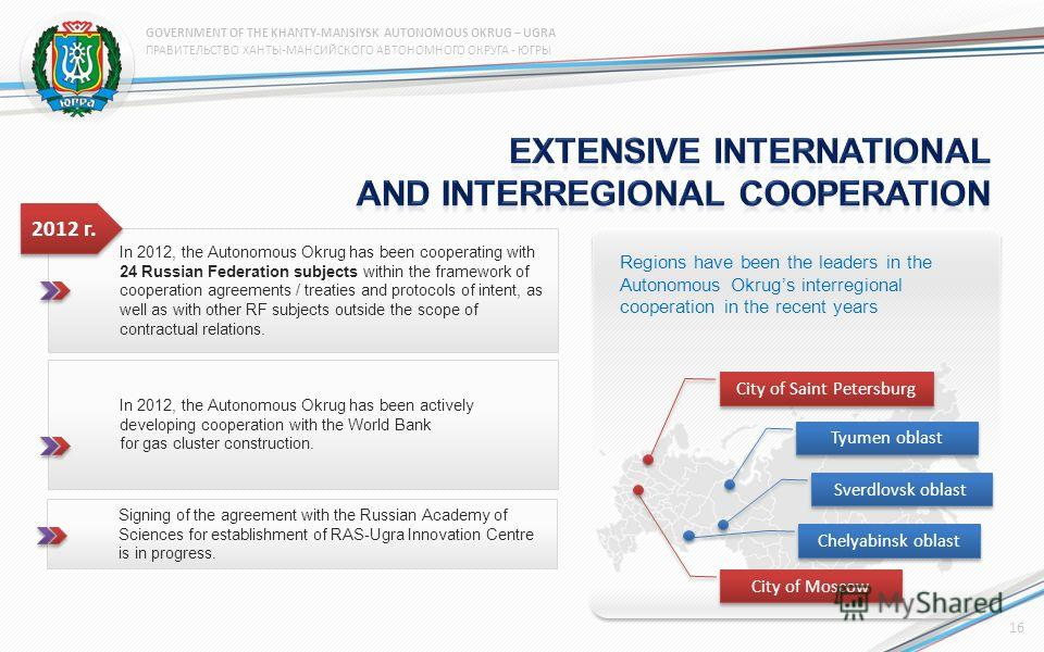 In 2012, the Autonomous Okrug has been cooperating with 24 Russian Federation subjects within the framework of cooperation agreements / treaties and protocols of intent, as well as with other RF subjects outside the scope of contractual relations. 20