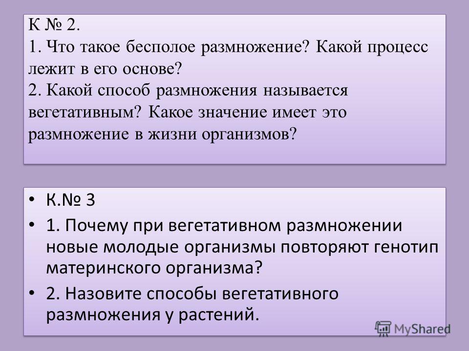 К 2. 1. Что такое бесполое размножение? Какой процесс лежит в его основе? 2. Какой способ размножения называется вегетативным? Какое значение имеет это размножение в жизни организмов? К. 3 1. Почему при вегетативном размножении новые молодые организм