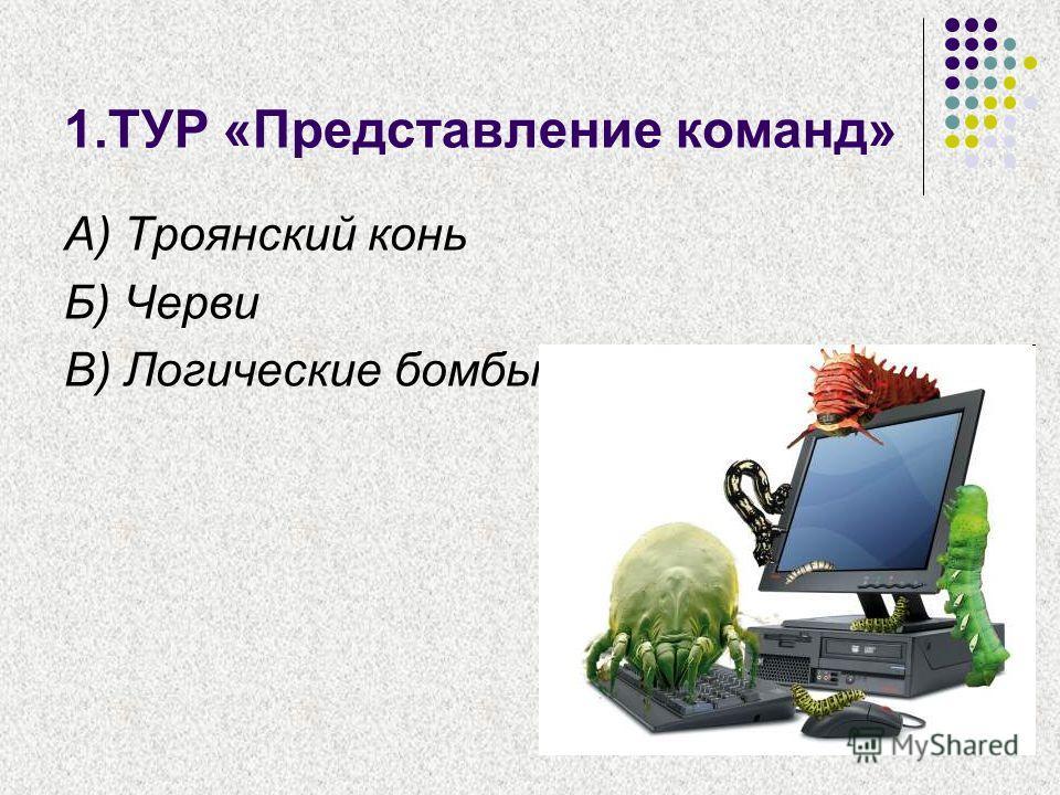 1.ТУР «Представление команд» А) Троянский конь Б) Черви В) Логические бомбы