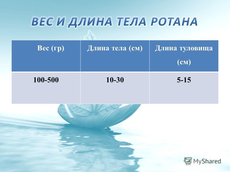 Вес (гр)Длина тела (см) Длина туловища (см) 100-50010-305-15