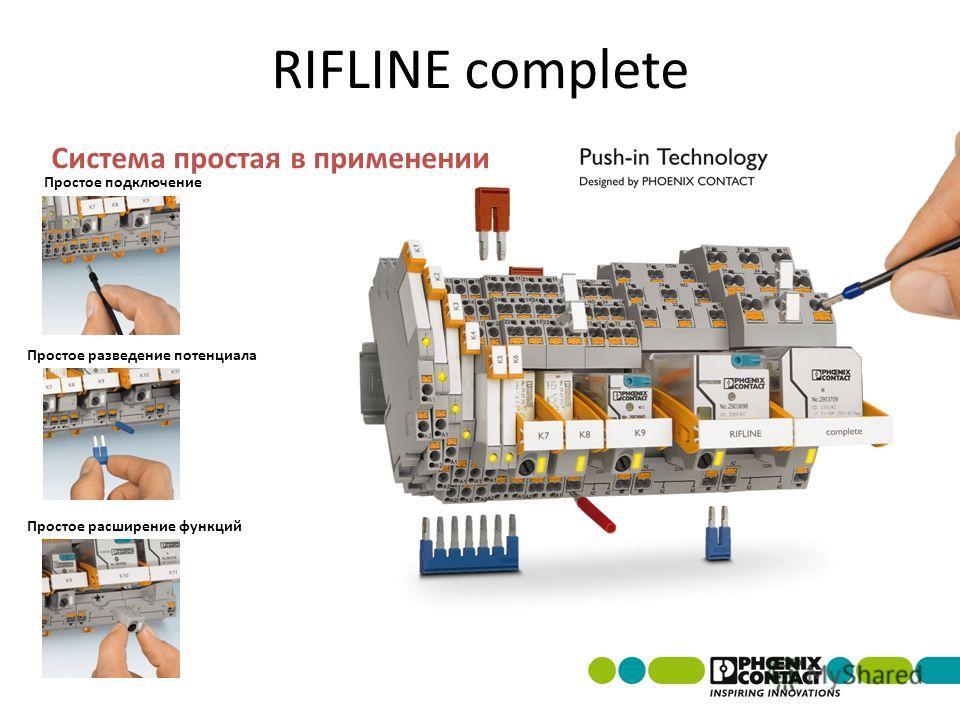 Система простая в применении RIFLINE complete Простое подключение Простое расширение функций Простое разведение потенциала