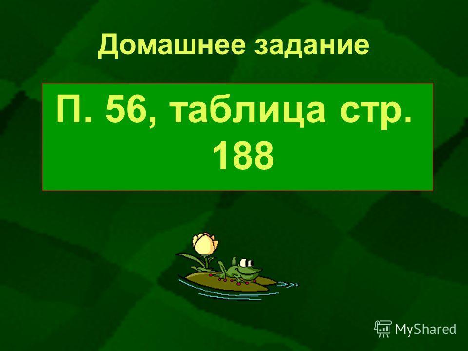 Домашнее задание П. 56, таблица стр. 188