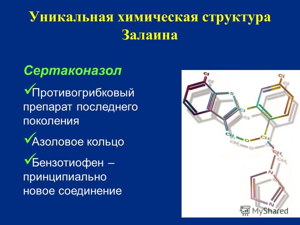 Уникальная химическая структура Залаина Сертаконазол Противогрибковый препарат последнего поколения Азоловое кольцо Бензотиофен – принципиально новое соединение