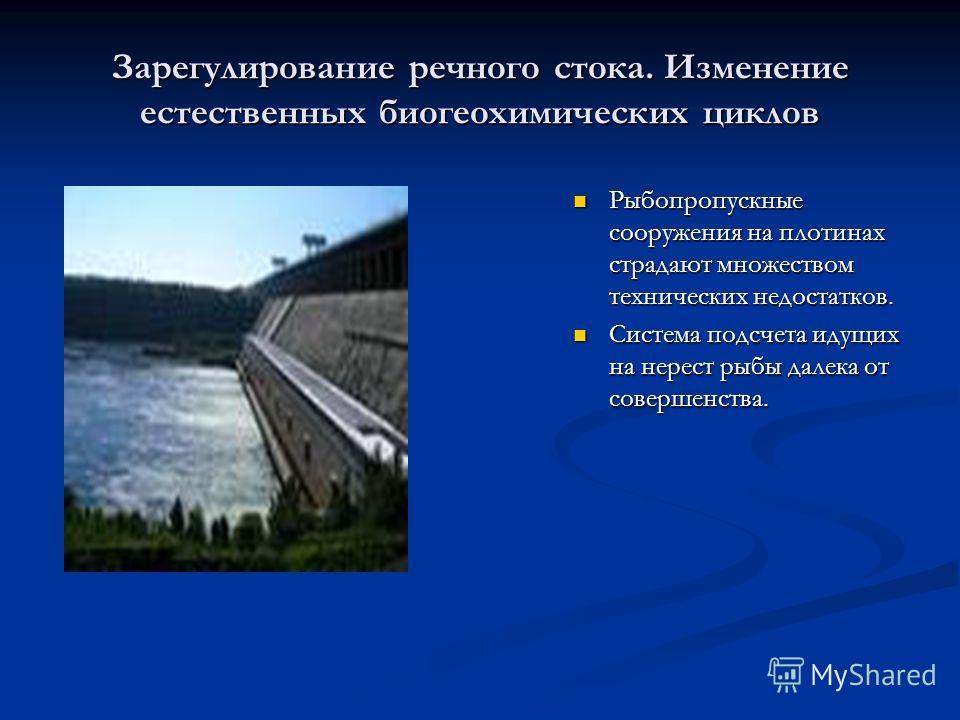 Зарегулирование речного стока. Изменение естественных биогеохимических циклов Рыбопропускные сооружения на плотинах страдают множеством технических недостатков. Рыбопропускные сооружения на плотинах страдают множеством технических недостатков. Систем