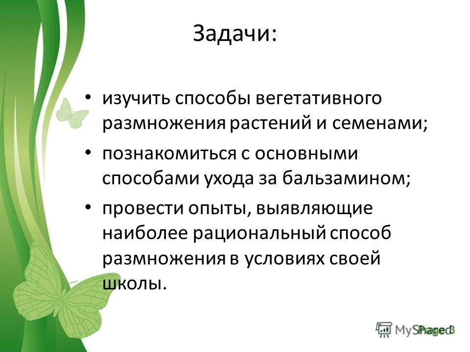 Free Powerpoint TemplatesPage 3 Задачи: изучить способы вегетативного размножения растений и семенами; познакомиться с основными способами ухода за бальзамином; провести опыты, выявляющие наиболее рациональный способ размножения в условиях своей школ