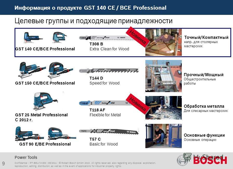 Информация о продукте GST 140 CE / BCE Professional 9 Целевые группы и подходящие принадлежности Power Tools GST 140 CE/BCE Professional Точный/ Компактный напр. для столярных мастерских T308 B Extra Clean for Wood Основные функции Основные операции