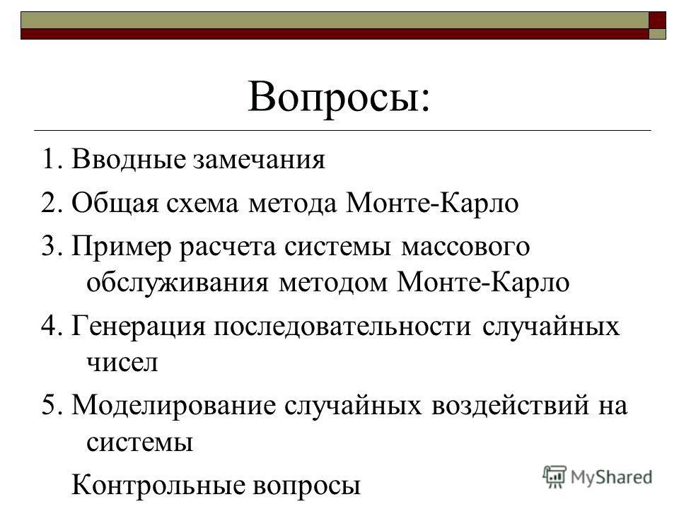 Общая схема метода Монте-Карло