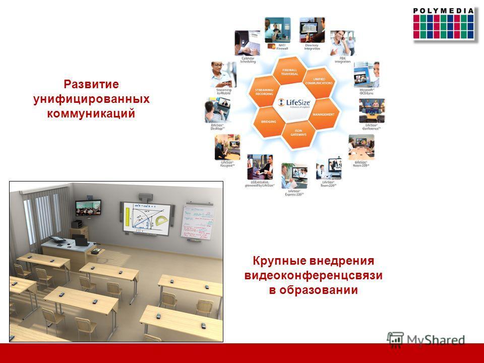 Развитие унифицированных коммуникаций Крупные внедрения видеоконференцсвязи в образовании