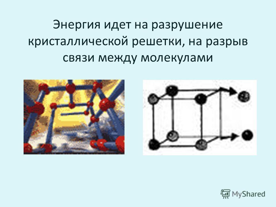 Энергия идет на разрушение кристаллической решетки, на разрыв связи между молекулами