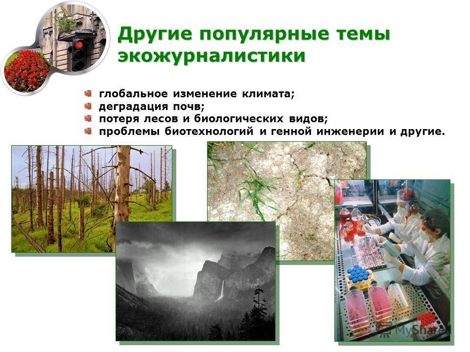 глобальное изменение климата; деградация почв; потеря лесов и биологических видов; проблемы биотехнологий и генной инженерии и другие. Другие популярные темы экожурналистики